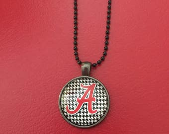 University College Football Alabama  Inspired Crimson Tide Hounds Tooth Roll Tide Necklace Pendant houndstooth