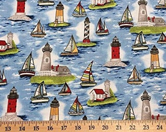 Lighthouse Sailboat Sail Boat Ocean Water Nautical Handcrafted Curtain Valance