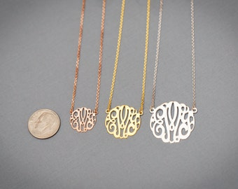 """Small Gold Plated (Yellow, White, Rose Gold) Classic Monogram Necklace - 0.6"""", 0.8"""", 1"""""""