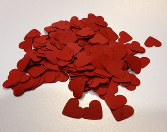 Wine red heart confetti, paper shapes, wedding confetti hearts