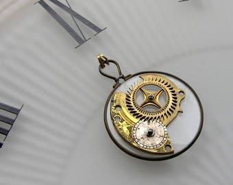 Steampunkology Optical Monocle Lens Pendant, Treasure Map Compass Rose Antique Fusee Pocket Watch Plate Part, Silver Regulater Dial VTG GEAR