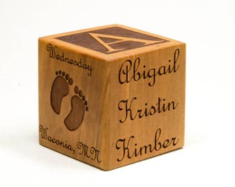 Wooden Baby Block Personalized for Babies, Newborns, Birthday, Baptism Gift Custom Engraved