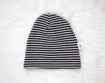 Navy and Oatmeal Stripe Baby Hat | Cuffed Hat | Slouchy Hat | Baby, Toddler Beanie | Slouchy Beanie | Hospital Hat | Baby Shower Gift