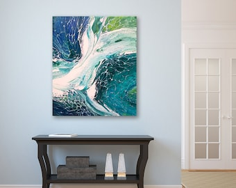 Acrylic Modern Painting on Canvas Original Abstract Painting Sea Fantasy Abstract Seascape Modern Art Fluid Painting Blue teal & Green Decor