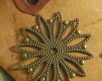 6 stamped brass jewelry craft medallions sunburst filigree 34mm