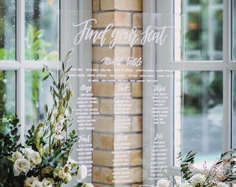 Acrylic Perspex Seating Chart | Seating Plan | Wedding Seating Chart | Find your seat | Willow and Ink | Welcome Acrylic Perspex Sign | Love