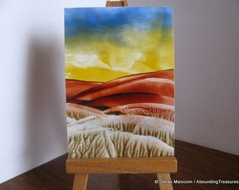 Inventory Clearance ACEO Hills and Valleys I. Encaustic (Wax) Original Painting. Rust Brown, Yellow, Blue. SFA (Small Format Art)