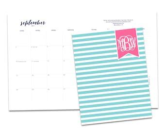 Personalized Monthly Desk Calendar. Customize. Monthly Planner. Desk Calendar. Stripe Calendar. Monogrammed Calendar. Preppy Planner.
