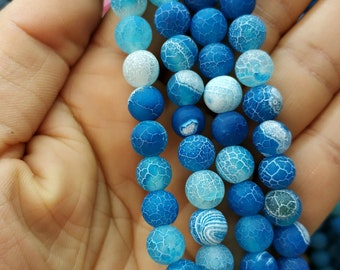 Matte Royal Blue Frosted Agate,dragon veins Matte Blue stone 8mm Round Beads- 47pcs/Strand