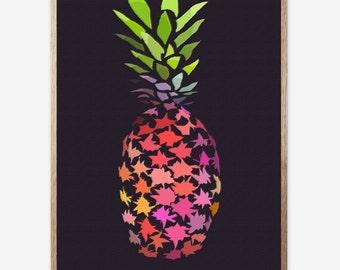 Pineapple print, Tropical Wall Art, Tropical Decor, Pineapple art, Printable Art, Tropical pineapple Art, Gift, Abstract art, Art Work 16x20