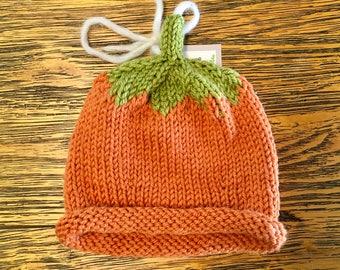 Handmade,   Pumpkin, baby hat, wool ,  rustic look, beanie style with brim,  6-9months.