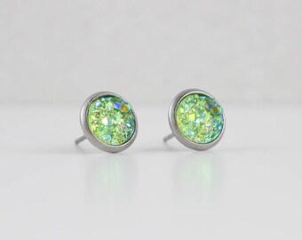 Lime Green Druzy Crystal Earrings | ATL-E-192