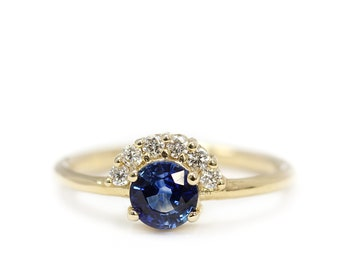 Yellow Gold Sapphire Diamond Ring, Round Diamond Engagement Ring, Diamond Halo Ring, Diamond Crown Cluster Ring