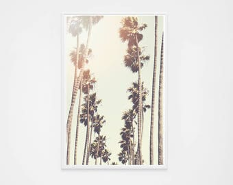 Palm Tree Print // Santa Monica Palm Trees // Photography // Los Angeles Photography Print for Modern Decor // Retro Golden Yellow Art Print