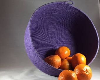 Coiled Rope Bowl, Purple Rope Bowl, Medium Rope Bowl, Rope Bowl, Dyed Rope Bowl