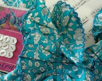 Retro Peacock Blue Floral Trim - Vintage Floral Feed Sack Dress Makers Supplies, Fluffy Trim, Teal Blue Floral Sewing Supply Trim, 3 FT!!!