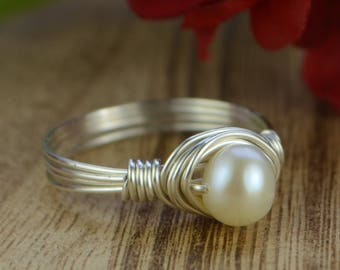 Freshwater Pearl Wrapped Ring -Sterling Silver, Yellow or Rose Gold Filled Wire/ White Pearl-Any Size 4 5 6 7 8 9 10 11 12 13 14 1/4 1/2 3/4