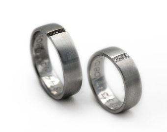 White and black diamonds wedding band sets, 14k white gold, Promise rings, Minimalist rings, Heart wedding rings, Man's wedding band