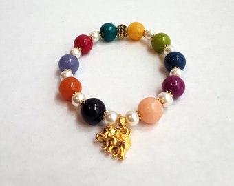 Gemstones Beaded Stretch Bracelet with Elephant charm-Jany