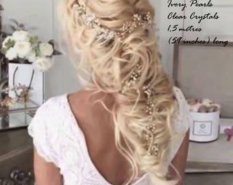 Hair Vine - Super Extra Long Pearl Hair Vine 0.45-1,5 meters - Bridal Hair Vine - Bridal  Wedding Pearl Crystal Hair Vine - SALE
