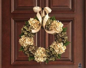 Gorgeous Green & Cream Hydrangea Wreath | Front Door Wreaths | Everyday Wreath | Spring Wreath | Fall Wreath | Housewarming Gift Ideas