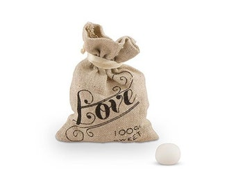 LOVE Burlap Bags - Rustic Wedding Favor Bags Bridal Shower Party Favors - Drawstring Candy Bags - Set of 12 - MW14956