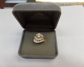 14 kt gold electroplate cubic zirconia ring size 5, new old stock