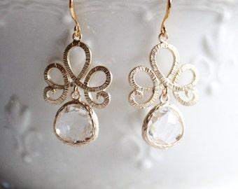 Tiara Bezel Glass Pendant Drop Earrings, wedding jewelry, bride earrings, bridesmaid earrings, wedding earrings, elegant jewelry, beautiful