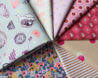 Pink and metallic Janum curated bundle- 8 fat quarters