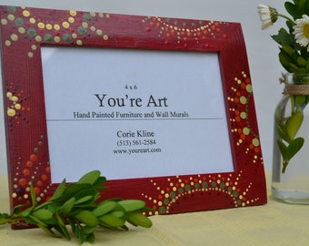 Red Painted Picture Frame with Dots/ Handmade Picture Frame with Red