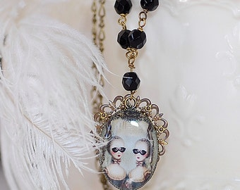 Marie Antionette  Necklace FREE SHIPPING  Gothic Cameo  Handmade Cute Brass Bronze Onyx Beads Art Blue Black Gift