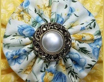Yo Yo Yellow Floral Hair Bow / Yo-Yo Flower / Clip / Yo Yo Fabric & Button