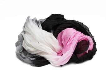 black silk scarf - Perfectionista  - black, grey, pink, off-white scarf  silk ruffled scarf.