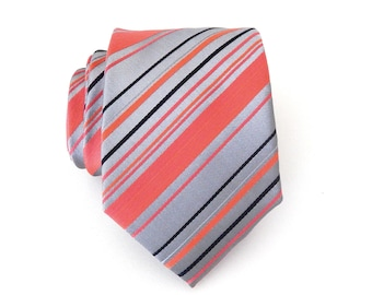 Mens Tie Coral Gray Navy Blue Stripes Necktie With Matching Pocket Square Option