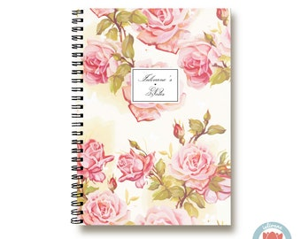 Bullet Journal Notebook - Pretty Pink Roses - Custom Notebook Floral Journal Sketchbook Spiral Notebook Schrift Girlfriend Gift 1N