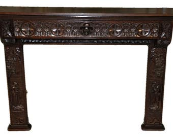 Antique French Breton Fireplace Surround in Oak Great Carving Lots of Detail SPECIAL PRICE #6060