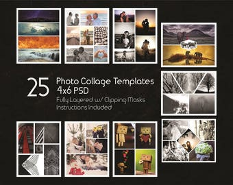 4x6 Photo Collage Templates Pack, 25 PSD Templates, Photoshop Collage Templates, Scrapbook, Storyboard Templates, Illustrator - Elements