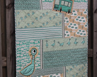Custom Quilt, Baby Quilt, Organic Quilt, Quilts for Sale, Mo Willems Don't Let The Pigeon Drive The Bus Organic Baby Quilt, MADE TO ORDER
