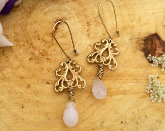 Filigree & Rose Quartz Drop Earrings