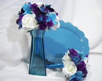 Katie J's Bridesmaids Bouquet Purple Spray Roses Jade Turquoise Orchids Teal Purple CA Orchids White Open Orchids