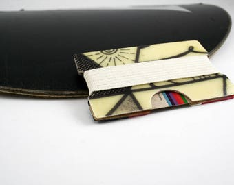 Minimalist wallet, Slim wallet, modern wallet, wood and fiberglass, made from recycled snowboard