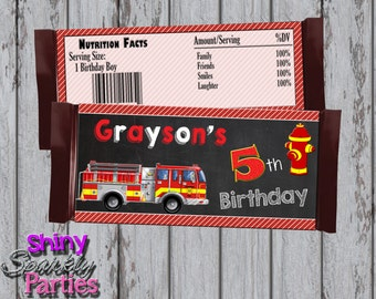 Printable FIRETRUCK CANDY Bar WRAPPERS - Firetruck Themed Candy Bar Wrappers - Firefighter Candy Bar Wraps - Fireman Candy Bar Wrappers