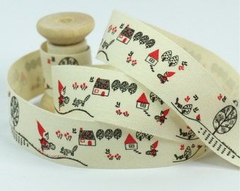 "Cotton Ribbon, Trim, Sewing Tape, Sewing Label, Fabric Label, Cotton Tag, Sew on Label - Little Red Cap, Length 1 yard, Width 13/16"" (CR40)"