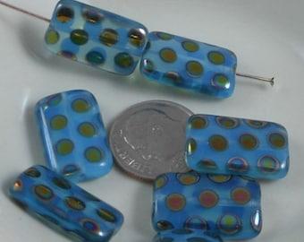 2 pcs Czech Glass Beads Large Flat Rectangle Aqua Opal With Vitrex Dot 19x12mm SRB-CP19x12-AV