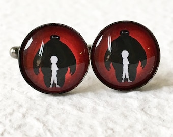 Baymax and Hiro Cufflinks - Big Hero 6 Silhouette Great for Disney Themed Wedding - Disney Jewelry and Accessories Cufflink Sets