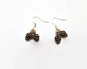 Tiny Pinecone Earrings  Pine Cone Earrings  Pinecone Jewelry Pine Cone Jewelry Woodland Earrings Forest Earrings Forest Jewelry Womans Gift