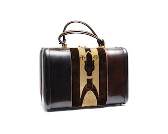 Vintage Principe vanity case, brown leather travel cosmetic bag, beige velvet satchel, metal clasp handle key, 1970s fashion accessory Italy