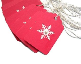 Christmas Tags - Christmas Gift Tags - Snowflake Tags - Pearl Center Holiday Tags Set of 10 - Holiday Package Decorations