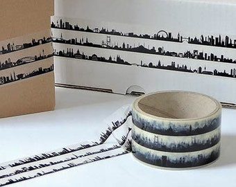 Gift Wrap Tape, Sticky Tape 27 skylines around the world, decoration band travel across the globe, black white Planner/Travel Notes Series
