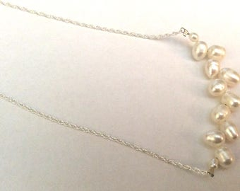 Bridal necklace, bridal jewellery, bridesmaids gift, handmade, ivory freshwater pearl, necklace